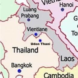 Map Showing Bangkok, Udon Thani and Vientiane