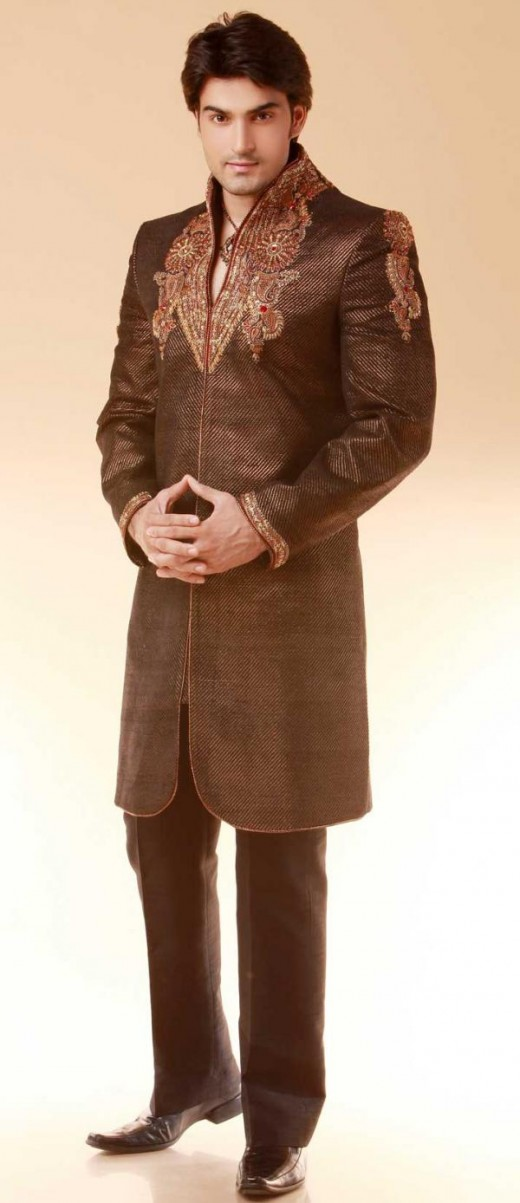 Brown Pure Silk Indo-Western Sherwani