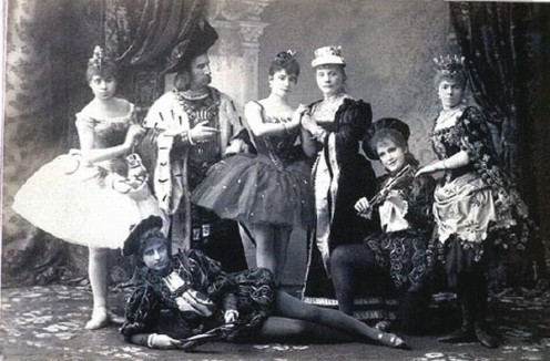 Publicity shot of the original cast of Tchaikovsky's ballet, The Sleeping Beauty, St Petersburg: Mariinsky Theater, 1890. Carlotta Brianza starred as Aurora. This photo is in the archives of RIA Novosti (Photo #60755, RIA05-011343, 69-32163). Public