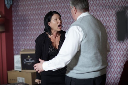 later Kat lashes out at Dad Charlie and blaimes him for the death of her son.