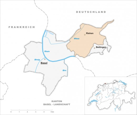Map location of Riehen, Switzerland, situated north of the Rhine