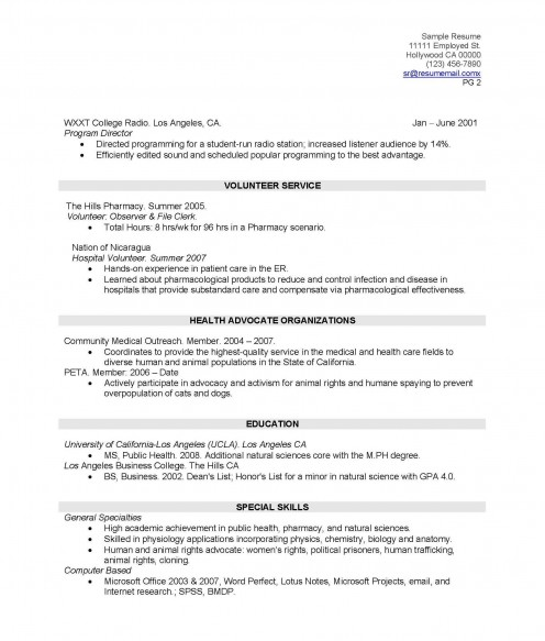 effective real life resume for college graduates