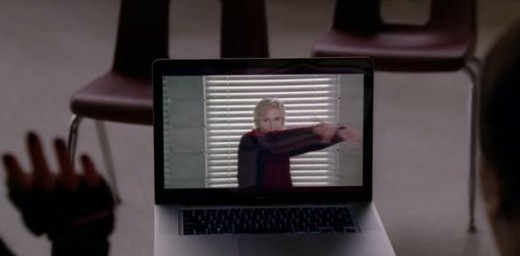 "Sue Sylvester dancing to ""Physical"" by Olivia Newton-John"