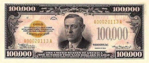 US$ 100,000 Dollar Notes. Yes it is real. The Federal Reserve used it to transfer money. They were last printed in 1945 and have since been discontinued.