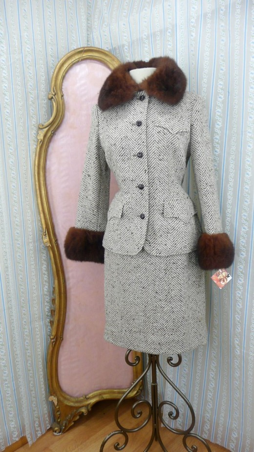 Dress:  Vintage Women's Fur Lined Suit Dress