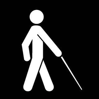 Legally blind people use the red-tipped white cane to find their way!