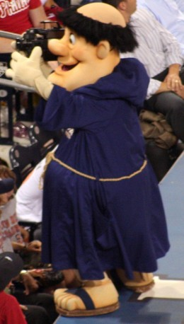 Games with mascots, like the Swinging Friar of the San Diego Padres, can set a masklophobe's nerves on edge.