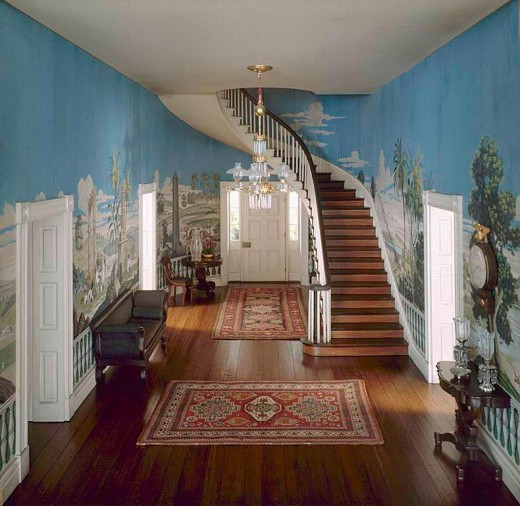 Hermitage Entry, featuring Rachel's French wallpaper with Greek storyline.