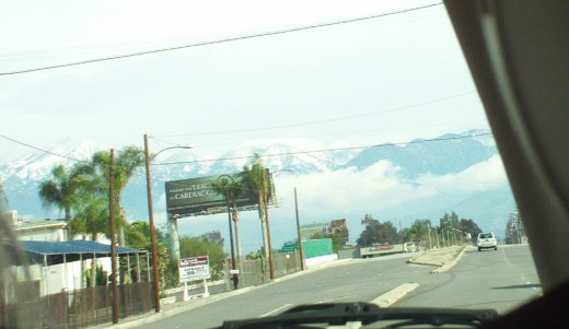 Picture of Mount San Gorgonio from the San Bernardino Valley.