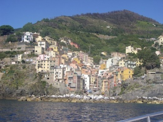 Approaching a Cinque Terre village by boat