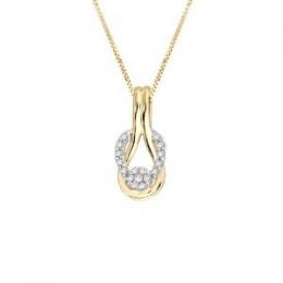 "10k Two-Tone Gold Diamond Love Knot Pendant (1/6 cttw, H-I Color, I1-I2 Clarity), 18"""