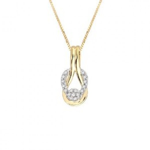 10k Two-Tone Gold Diamond Love Knot Pendant (1/6 cttw, H-I Color, I1-I2 Clarity), 18""