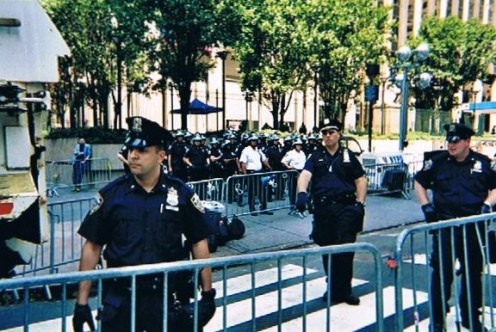 NYPD in motion as the march approached Madison Square Garden.