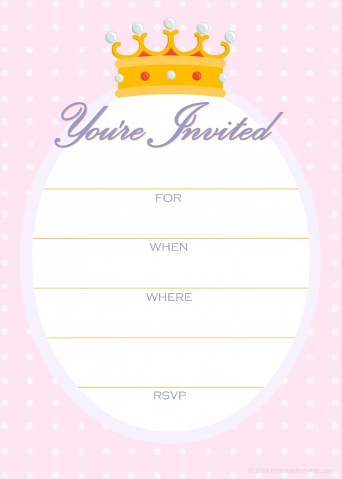 Free princess birthday party invitations