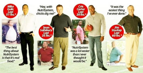 Jocks who lost weight on Nutrisystem - source:  Nutrisystem