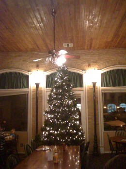 Very large Christmas Tree in the dining room.