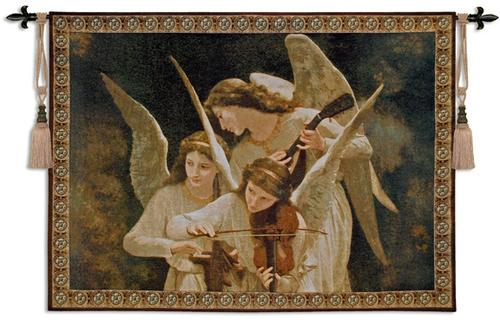 beautiful painting with angels (two young girls and an adult female) playing instruments with gorgeous wings
