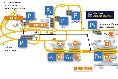 Terminals and connections at Charles de Gaulle Airport