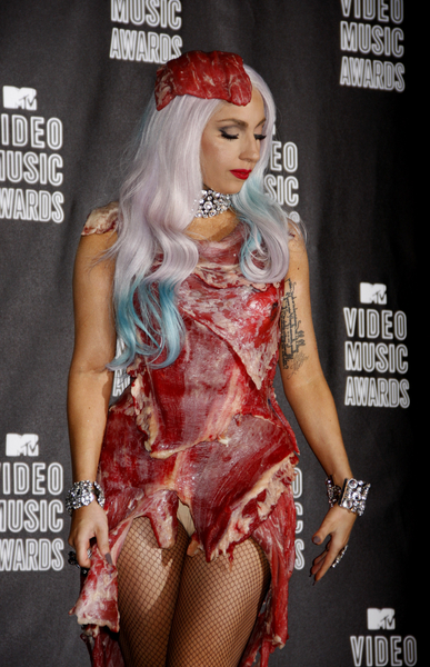 Meat Dress worn by Lady Gaga for MTV Video Music Awards