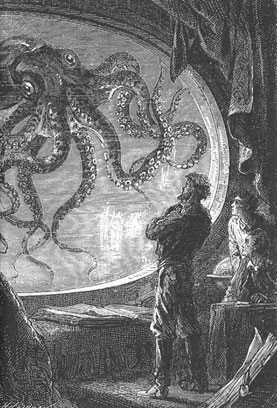 "Captain Nemo and the octopus from ""Twenty Thousand Leagues Under the Sea' by Jules Verne."