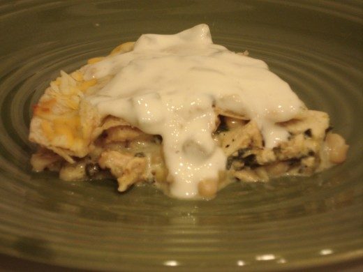 Chicken enchilada recipe made like a pie is easy to fix and serve.