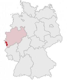 Map location of Aachen, within Nordrhein-Westfalen state, Germany