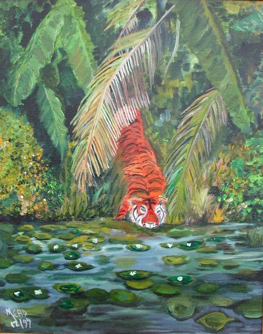 my oil painting of the tiger drinking