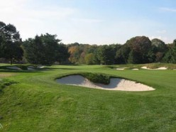 Looking at one of many bunkers found at the Longshore Golf Course in Westport, Connecticut