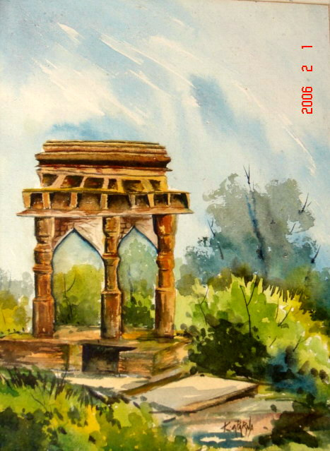 Oil painting of a monument porch