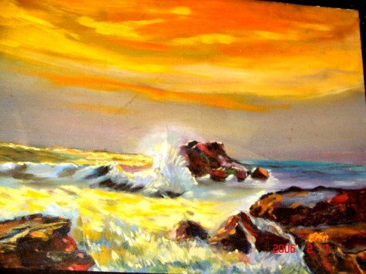 The evening sea-Oil painting. observe the hormony of colors