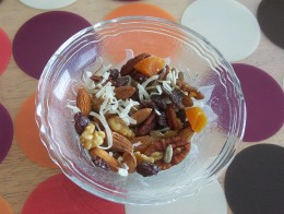 This nut and dried fruit, homemade trail mix might be just the ticket for hungry kids.
