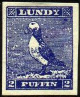 Postage stamp from Lundy, depicting a puffin