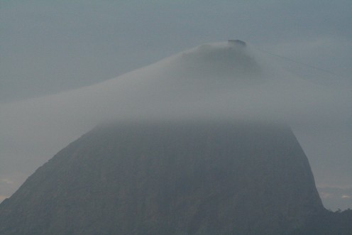 Close-up of Rio's Sugarloaf in the clouds