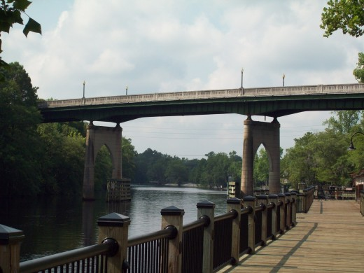 The Waccamaw River and Memorial Bridge at Conway, South Carolina