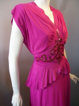 Fuschia jersey knit rayon 40s cocktail dress with sequined inset panel