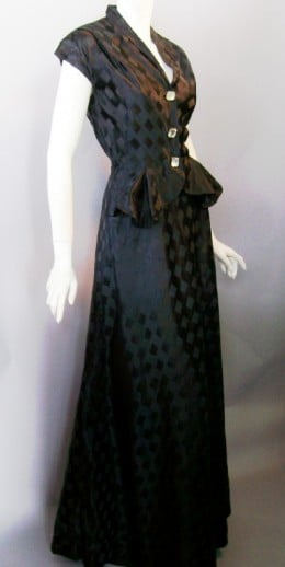 Black harlequin weave slipper satin 40's gown with the BEN REIG label, created under the supervision of head designer OMAR KIAM (former costume designer for MGM