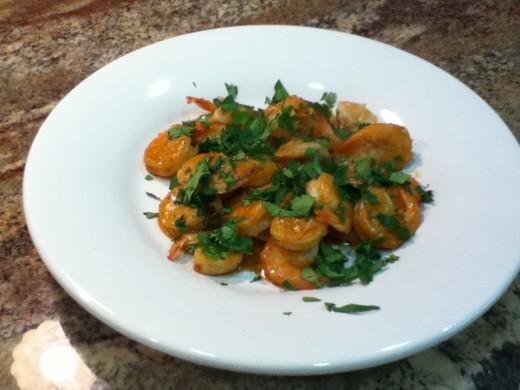 Shrimp Plated With Cilantro Garnish