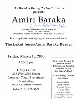 Baraka is huge political figure known for his  writing of poetry, drama, fiction, essays beginning in the 1960s,  addressing racism, national oppression, colonialism, neo-colonialism and more.