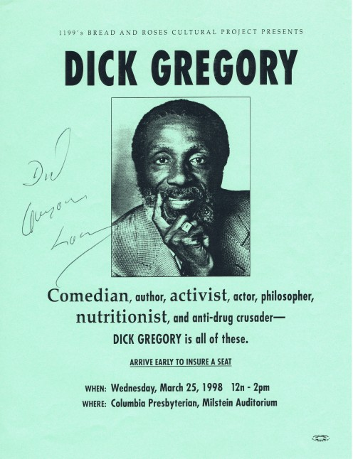 I'll never forget this appearance of longtime comedian and activist Dick Gregory. While laughing so hard when videotaping his two performances, I had to let go of the tripod handle several times in order to avoid shaking the camera image.