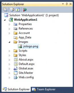 Figure 2 - Solution Explorer showing added image.
