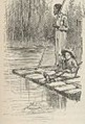 Huck and Jim on a Raft by E.W. Kemble 1884 edition.
