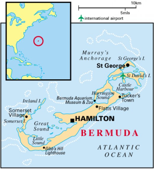 Colorful blue map of the Bermuda Island - showcasing the location off the coast of the United States and also detailing the cities and the water edge in Bermuda