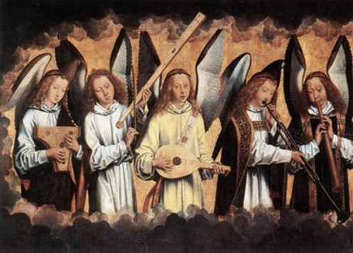 """Angels Playing Musical Instruments"" - by Hans Memling (1487-1490)"