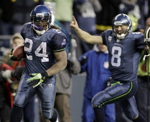 Seahawk Marshawn Lynch runs for a 67-yard touchdown in the teams victory over the defending Super Bowl champion New Orleans Saints in the first round of the playoffs.