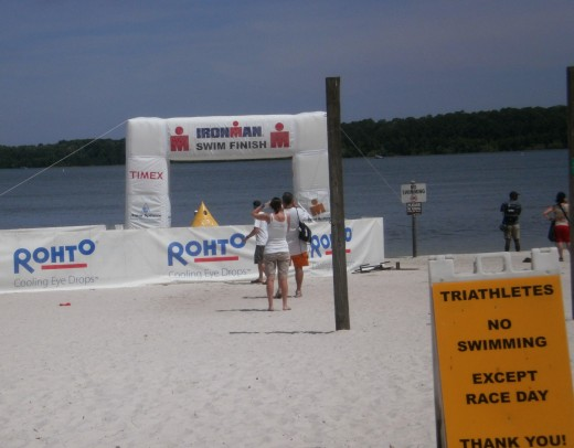 Swim Finish Line, the Day Before the Start of the Florida 70.3 Triathlon