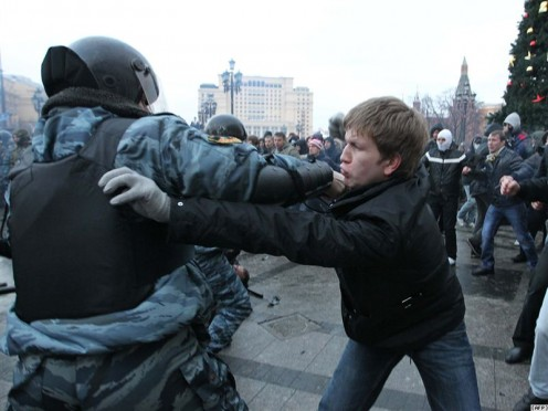 This photo is taken from the  Russian source and the article about the rise of xenophobia in Russia.  Not in 2000, when I wrote my essay.  It is dated December 2010.