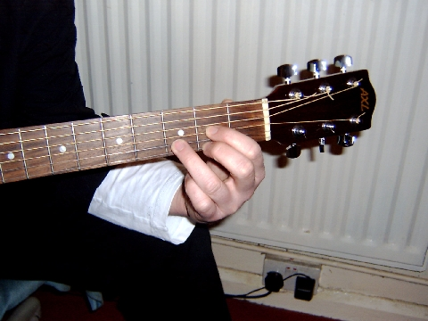 D chord being fingered on the guitar