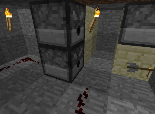 This could easily be tidied up to be less obvious, but for the sake of illustrating the concept, I have left the walls cut away, showing the redstone path from the back of the dispenser curling around to a pressure plate at the front of the dispenser