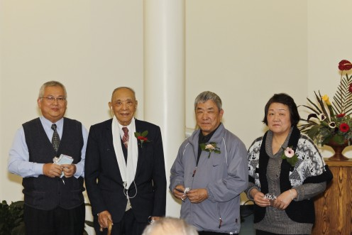 Elder H. M. Huang (98 years old) was still preaching in 2010. Left:  Dn. Apollos Lee, Elder H. M. Huang, Jackson (son) and  Shiow-Yueh (daughter-in-law)