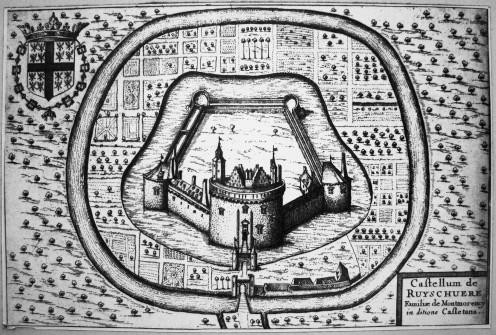 Philippe de Commynes's castle at Renescure seen in an old diagram